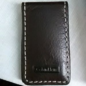 Calvin Klein brown leather magnetic money clip